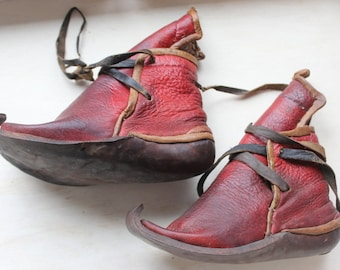 Boots Antique Red Leather Turkistan Child's or Small Woman's- Middle East, Turkey, Anatolia  Ethnographic Museum Piece