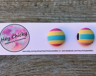Candy Stripes Fabric Button Stud Earrings - 15mm