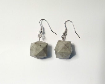 Concrete earrings jewelry minimal polyhedron