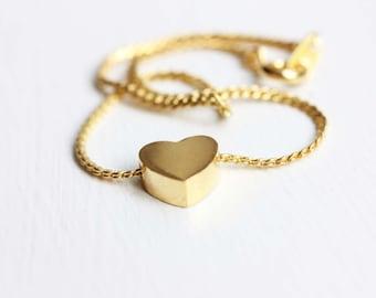 Heart Bracelet Gold, Heart Chain Bracelet, Gold Heart Chain, Small Gold Bracelet, Gold Bracelet, Heart Charm Bracelet, Block Heart Bracelet
