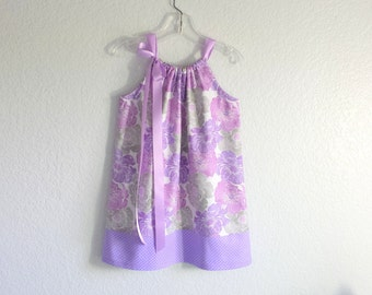 Girls Lavender Pillowcase Dress - Purple & Grey Floral with Polka Dots - Girls Purple Summer Dress - Size 12m, 18m, 2T, 3T, 4, 5, 6, 8 or 10