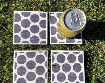 dark gray polka dots ceramic coaster tile