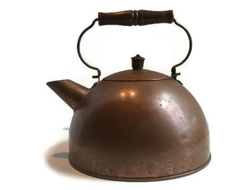 Vintage Copper Tea Kettle     Revere Ware    Copper Flower Pot   Country Decor