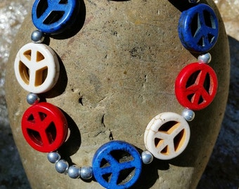 Red White and Blue Peace Sign Bracelet