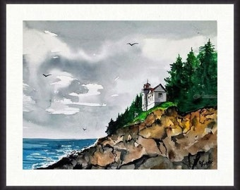 Original Watercolour Painting by Jim Lagasse | Lighthouse Painting | Original Landscape Watercolour | Maine Painting | Bass Head Light