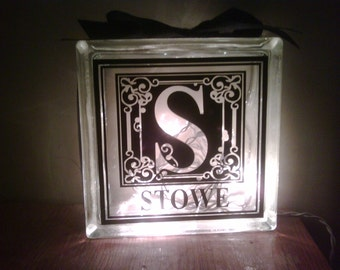 Beautiful Personalized monogram with name Glass Block with lights and ribbon..