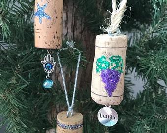 Mystic Peace Wine Cork Ornament/ Wine Bottle Charm Set