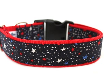 """4th Of July Dog Collar 1"""" or 1.5"""" Patriotic Dog Collar Star Dog Collar"""