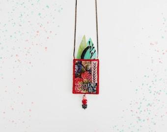 Textile Necklace, Pouch Necklace, Pocket Necklace, Long Necklace, Amulet Necklace, Statement Necklace