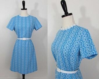 25% off - vintage 1960-70s arlene andrews blue floral day dress mod retro aline - size med-large