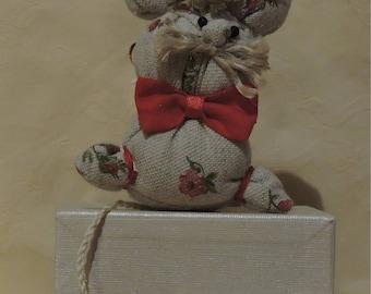 Pip the Mouse, cloth stuffed animal, handmade, stuffed mouse
