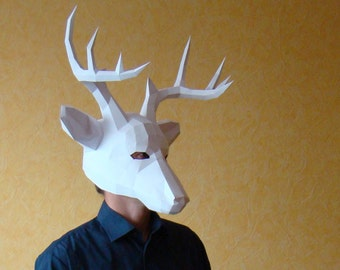 Deer Mask, Stag mask, printable DIY PDF template, Party Mask Papercraft Halloween mask, Reindeer