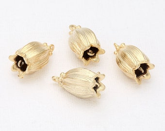 BEST-Bell Flower Connector Matte Gold- Plated - 2 Pieces [C0052-MG]