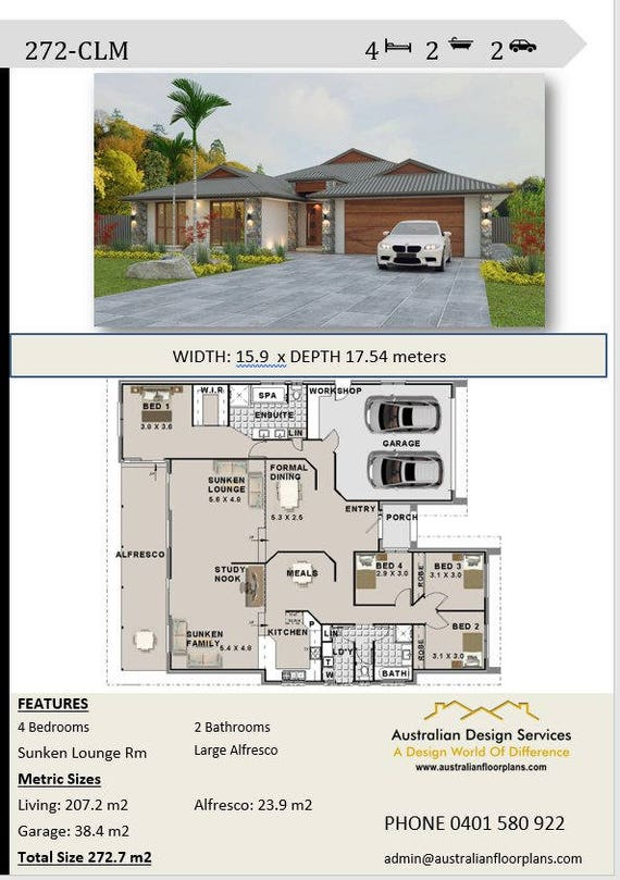 272 m2 4 Bedroom house plans Double Garage Home Plans