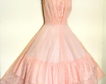 vintage 1950s Prom Dress PINK CHIFFON Party dress, size s