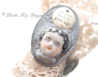 Never Give Up Doll Face Ring Doll Head Ring Fine Silver Plated Lorelie Kay Designs Doll Jewelry