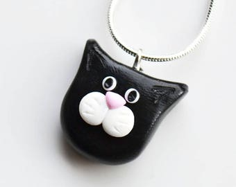 Katze Gesicht Halskette, Polymer Clay, Fimo