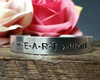 I HEART Willows cuff with personalised charm
