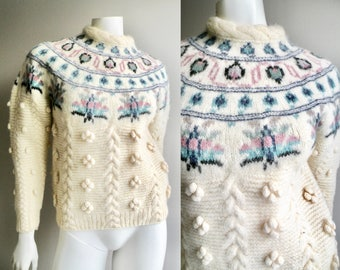 80s Cream Wool Sweater with Popcorn Details and Pastel Fair Isle Design  Woolrich- M