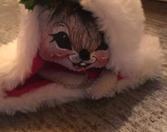 Vintage Annalee Dolls 1993 Mouse in Santa Hat Holiday Christmas