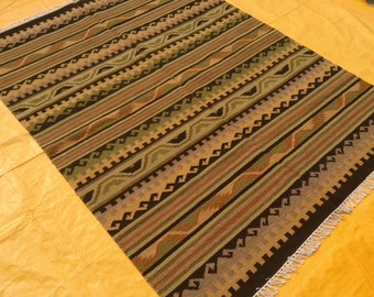 "Turkish Kilim rug, area rug,rugs, vintage rug, Handwoven rugs, Bohemian Rug, Wall decor, Large rug, kilim rug Brown, 60"" x 96"" Striped rug"
