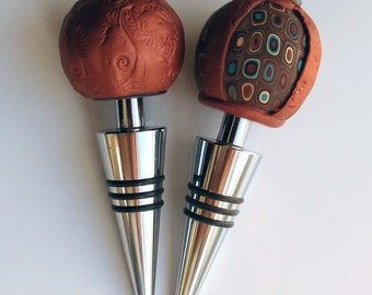 Handmade Copper Wine Bottle Stoppers Set of 2, Polymer Clay Wine Bottle Stoppers, Decoration, Dad gift, Gift for Him, Wedding Gifts