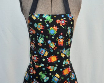 Child apron, robot print