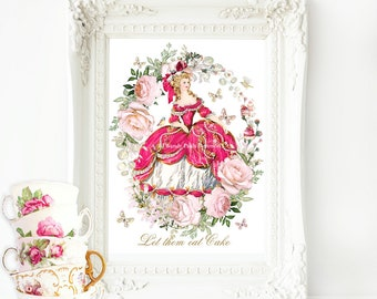 "Marie Antoinette printable, Let them eat cake, printable gift, Instant Download 8""x 10"" Personal use only"
