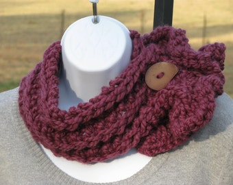SALE - Stylish Scarflette Scarf with large teardrop button - fig/plum color - by Happy Campers of the South  (SCRF018)