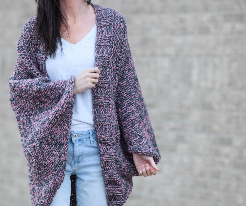 Easy Cardigan Knitting Pattern Beginner Knit Sweater Pattern