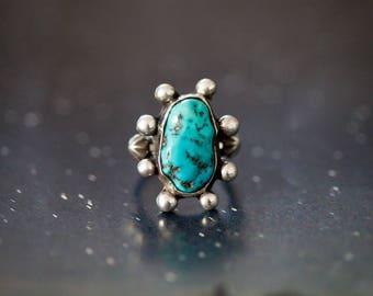 Sterling Silver Kingman Turquoise Southwest Nugget Statement Ring Sz 5