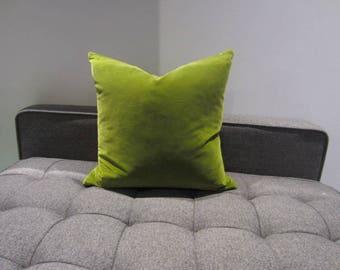 Green Velvet Pillow - Decorative Pillow - Throw Pillow - Both Sides 17x17