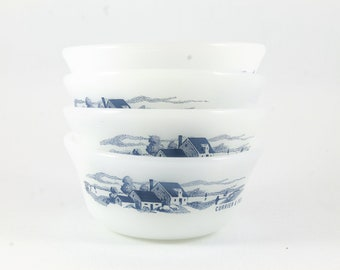 Currier and Ives Bowls // Set of 4 Ovenware Dessert Cups //Small Custard Ramekin Blue White Vintage Country Kitchen