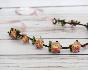 Handcrafted Summer Pink and French Cream Flower Crown - Adult Flower Crown - Woodland Halo - Bridesmaid Hair Accessory - Pink Adult Headband