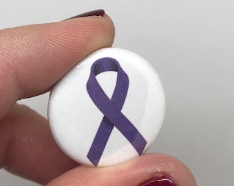 "purple ribbon 1"" button"