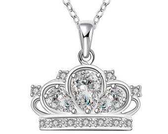 IzuBizu London Diamond Princess Crown Pendant 925 Stirling Silver Cubic Zirconia Faux Queen Necklace - Free Gift Box
