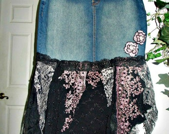 Ruffled jean skirt lilac roses lavender beaded sequins black embellished bohemian mermaid goddess Renaissance Denim Couture Made to Order