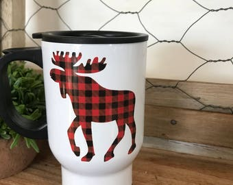 Stainless Steel Travel Mug - Moose Mug - Buffalo Plaid Moose Mug - Moose Gift - Gift for Him - Mug Gift - Travel Coffee Mug - Gift for Her