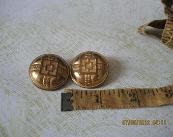 2- Shiny Vintage Metal Buttons, medium early 1900-1930.