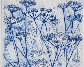 Flower in the wind Large Original Eching Queen Anne's lace or Field Wildflower umbellifer, blue and white flower queen annes lace