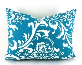 "CLEARANCE SALE 16""x12""  Lumbar Pillow Cover Decorative Pillow Cover Pillows Premier Prints Ozborne True Turquoise"