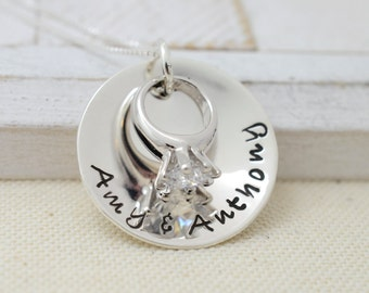 Silver Wedding Ring Necklace - Wedding Keepsake - Anniversary Gift for Her - Gift for Her - Bridal Shower Gift Idea - Anniversary Necklace