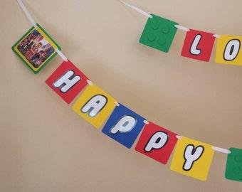 Lego Birthday Banner, Brick Building Birthday Banner, Lego Themed Banner