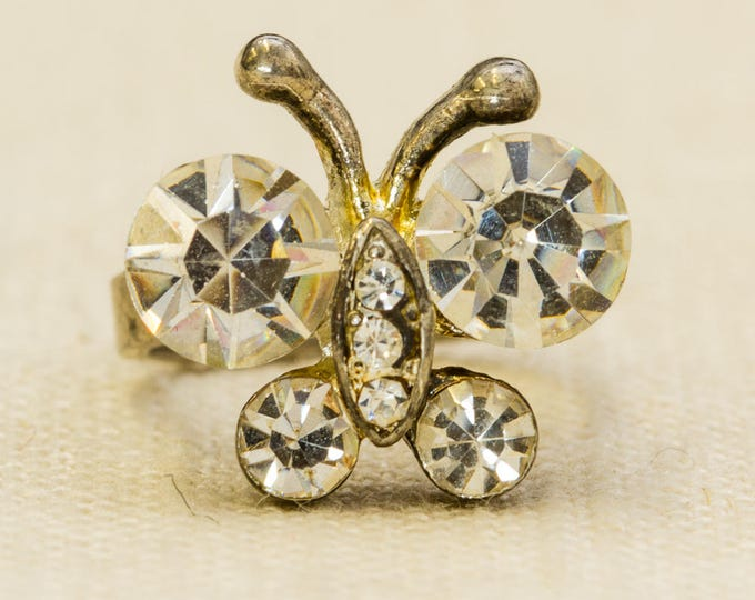 Butterfly Vintage Ring Silver Rhinestones Sparkly US Womens Size 5.5 7RI