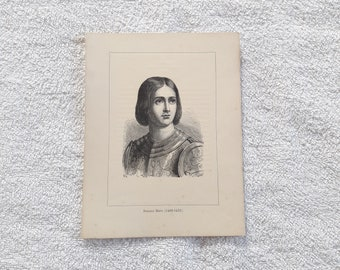 """7 x 5"""" Joan of Arc - Antique French Print"""