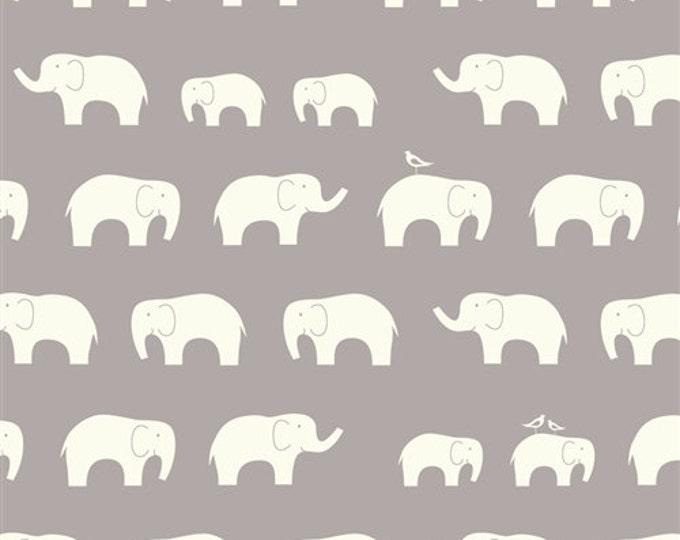 Organic DOUBLE GAUZE Fabric - Elephant Family Shroom