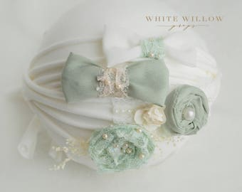 Set of sage and ivory tiebacks - Set of 4 Newborn headbands - Newborn Prop - sage Tieback - ivory tiebacks set - newborn to toddler tiebacks