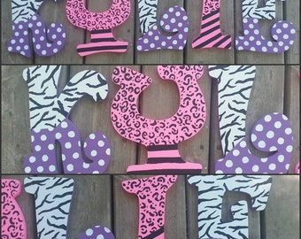 Hand Painted Animal Print Wooden Letters, Custom Wood Letters, Custom Name Letters, Painted Wood Letters, Hand Painted Letters, Animal Print