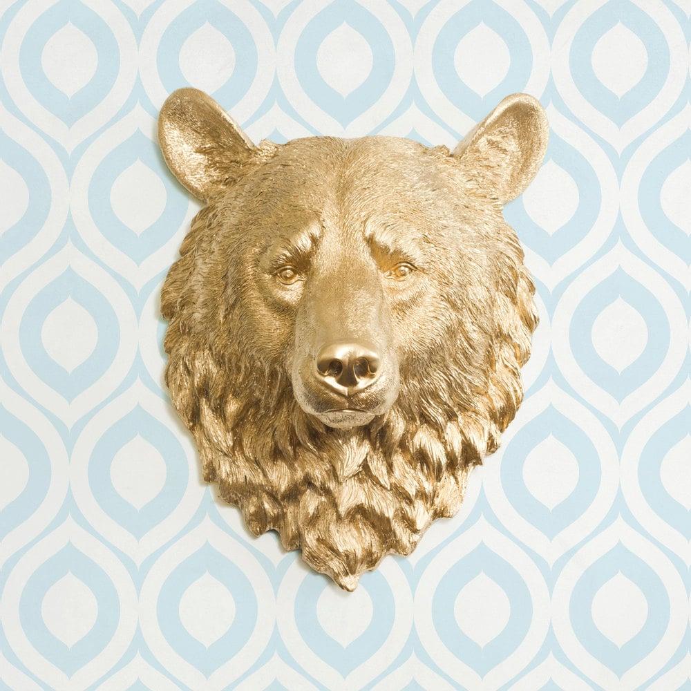 Gold Kodiak Bear Head by Wall Charmers Faux Taxidermy Faux
