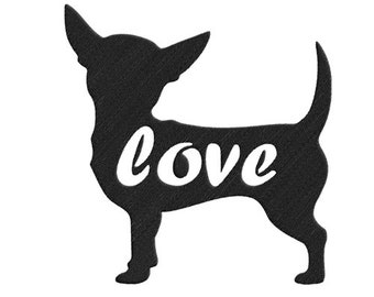 5 Size Love chihuahua Silhouette Embroidery design--1314